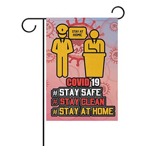 SD3DPrint - Banderas para jardín de casa con texto en inglés 'Stay At Home Stop Coronavirus Covid-19', impermeable, para exteriores, 30,5 x 45,7 cm, poliéster, multicolor, 12x18(in)