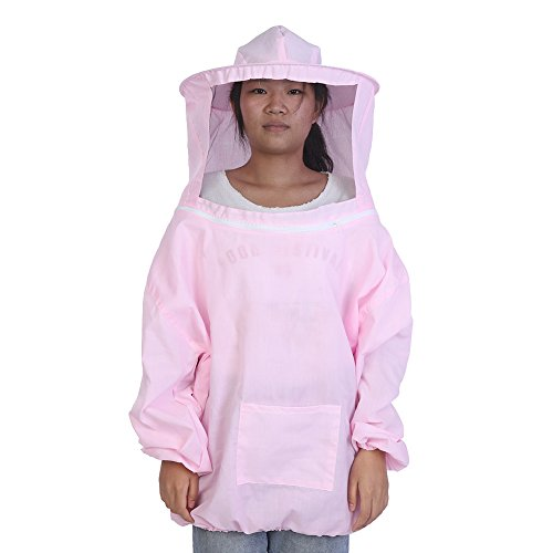 Traje de Apicultura, Kit de Sombrero de Chaqueta de Apicultura de Algodn Protector con Velo Equipo de Celador de Abeja(Pink)