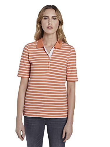 TOM TAILOR Damen Poloshirts Gestreiftes Poloshirt Melon Offwhite Stripe,XXL,22449,4556