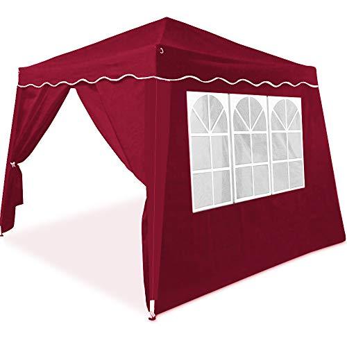 Deuba Pavillon Partyzelt Capri 3x3m wasserdicht Rot Faltpavillon 4 Seitenwände Festzelt Gartenzelt Zelt Pop Up Faltbar