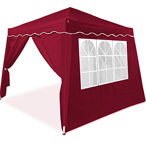 Deuba Pavillon Partyzelt Capri 3x3m wasserdicht Rot Faltpavillon 4 Seitenwände Festzelt Gartenzelt Zelt