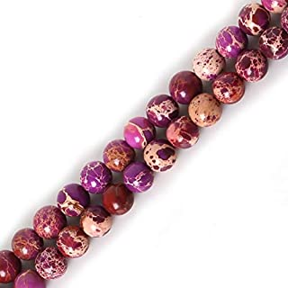 ZRBC Natural Stone 6mm Red/Purple/Green//Royal Blue Sea Sediment Beads Pick Color For DIY Bracelet BTB771-02 (Color : Purple)