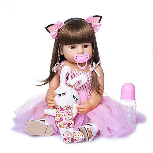 SERBHN 55 Cm Reborn Baby Doll Girl Niña, Princesa Rosa Muy Dulce Falda Cuerpo Completo Muñeca De Silicona para Accesorios De Regalo-Default
