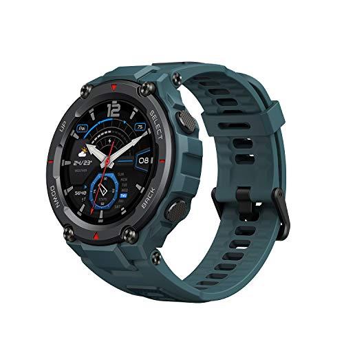 Amazfit T Rex Pro Smartwatch mit GPS, 1,3 Zoll AMOLED Display Sportuhr mit 10 ATM wasserdicht, SpO2, 24h Herzfrequenzmessung, bis zu 18 Tage Akku, 100 Sportmodi für Herren Damen (Blau)