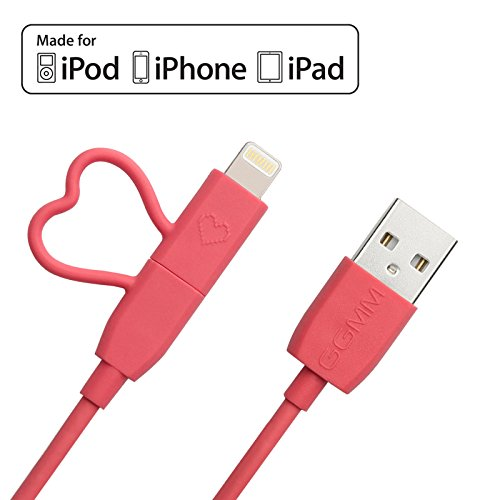 GGMM Cable Lightning 2 en 1 y Cable Micro USB, Cable de Carga Compatible con iPhone 7 / 7s / 6s / 5s / 5c / 5 más, iPad/iPod, Samsung, HTC, y más Dispositivos [Certificado de Apple MFI]