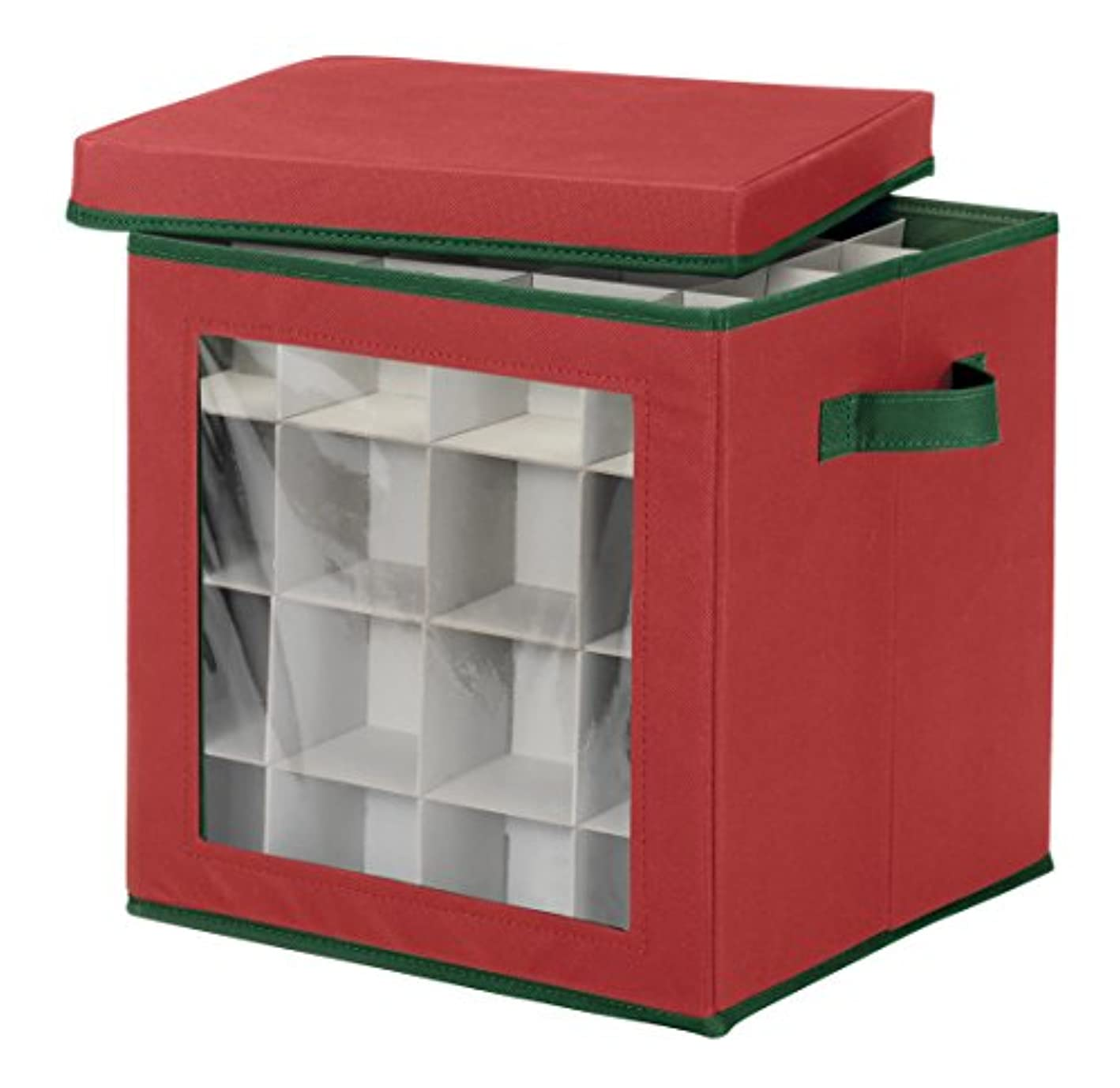 Whitmor Ornament Storage Cube - 64 Compartments -Red