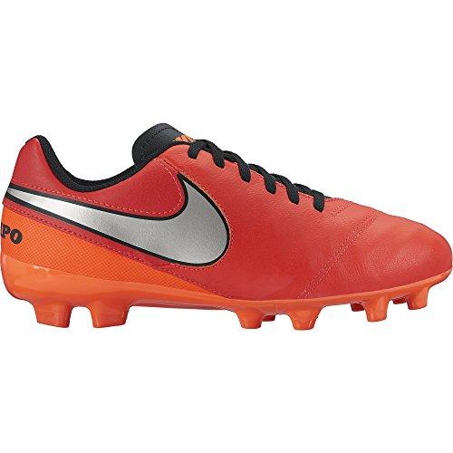 Nike JR Tiempo Legend Vi FG, Zapatos de Primeros Pasos para Bebés, Naranja/Plateado/Rojo (Lt Crmsn/Mtllc Slvr-Ttl Crmsn), 27