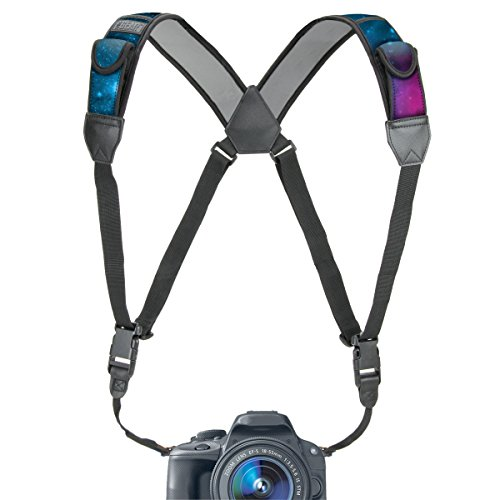 USA GEAR DSLR Camera Strap Chest Harness with Quick Release Buckles, Galaxy Neoprene Pattern and Accessory Pockets - Compatible with Canon, Nikon, Sony and More Point and Shoot and Mirrorless Cameras