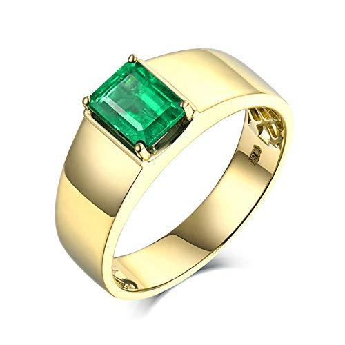 Daesar Anillos Hombre Oro Amarillo 18K,Rectángulo Esmeralda Verde 1.39ct,Oro Verde Talla 21