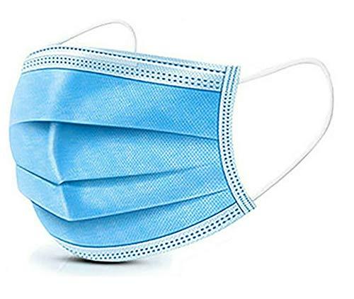 Atemschutzgeräte 50 Stück, 3-Lagige Einweg-Gesichtsabdeckung Pads mit Elastischen Ohrschlaufen - Weiche und Komfortable Filtersicherheit Mehrere Schichten für Staubschutz - Blau