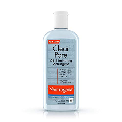 Neutrogena Clear Pore Oil-Eliminating Astringent with Salicylic Acid, Pore Clearing Treatment for Acne-Prone Skin, 8 fl. oz (Pack of 3)