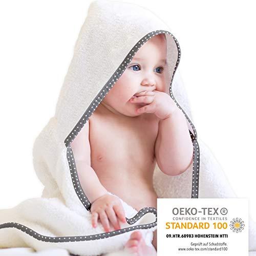 Mammacita Kapuzenhandtuch Baby aus OEKO TEX Baumwolle (3er Set) Baby Towel für Babys und Klein-Kinder I Babyhandtuch mit Kapuze (90 x 90cm) + Baby Handtuch (30 x 30cm) + Baby-Waschlappen