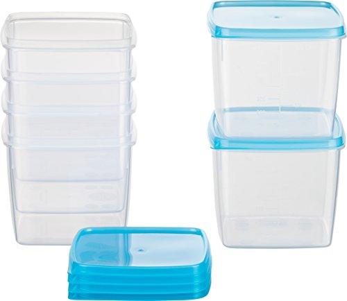 Kigima Tiefkühldose 0,75l quadratisch 11x11x9,5 cm 6er Set hellblau