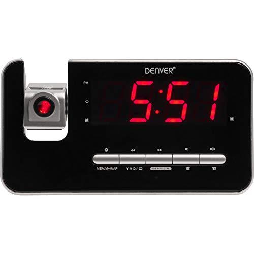 Denver CRP-618 Uhrenradio (Wecker, PLL FM Radio, Display 3,0cm (1,2 Zoll), Projektion)