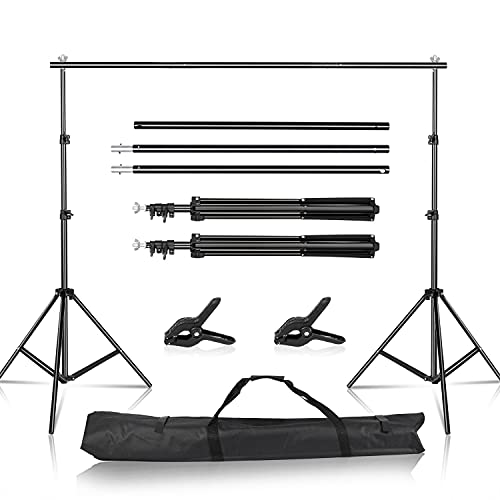 Walk Fly Backdrop Stand, 2x2m Adjustable Photography Muslin Background Support System Stand with Spring Clamps for Photo Video Studio Shooting