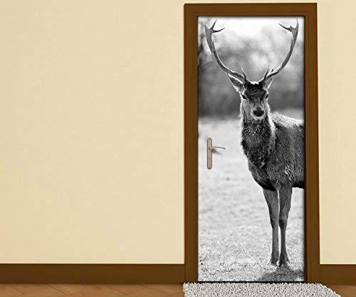 Türaufkleber schwarz weiss Hirsch Elch Geweih Natur Tier Wald Tür Bild Türposter Türfolie Druck Aufkleber sticker 15A3208, Türgrösse:90cmx200cm