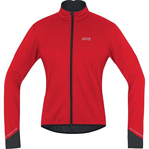 GORE WEAR Chaqueta cortavientos de ciclismo para hombre, C5 GORE WINDSTOPPER Thermo Jacket, S, Rojo/Negro, 100364
