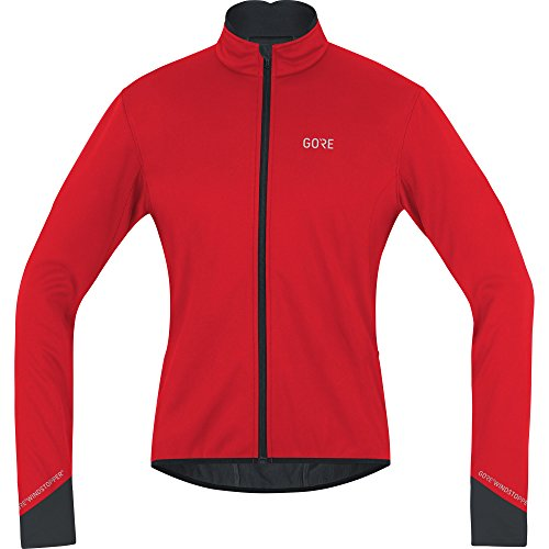 GORE WEAR Windproof Men's Cycling Jacket, C5 Gore Windstopper Thermo Jacket, L, Red/Black, 100364