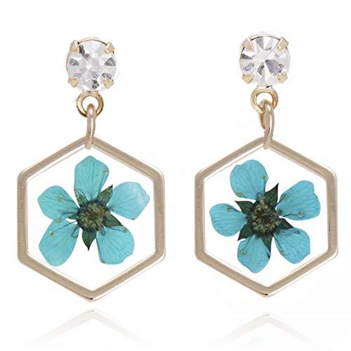 Bonaluna Women's Pressed Flower Hexagon Dangle Earrings Turquoise