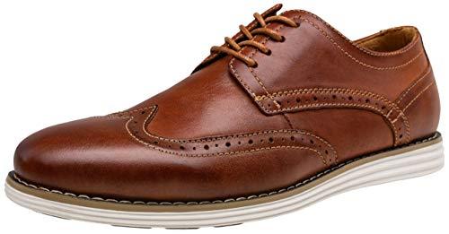 VOSTEY Men's Dress Shoes Leather Oxford Shoes Casual Dress Shoes for Men Wingtip Dress Shoes (15,Oxblood)