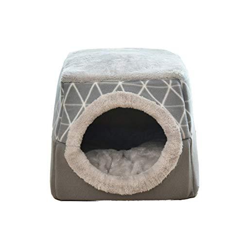 DDK Katzenhöhle Katzenhaus, Geschlossen rutschfest Haustier Nest Schlafsack, Winter Warm 2 in 1 Faltbar Kuschelhöhle für Katzen und Hunde Grau Large