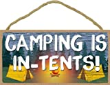 SJT ENTERPRISES, INC. Camping is in-Tents - Camping Scene Camper/Camping/RV 5' x 10' MDF Wood Plaque with Twine (SJT13697)