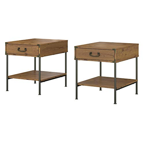 Bush Furniture kathy ireland Home Ironworks Set of 2 End Tables, Vintage Golden Pine