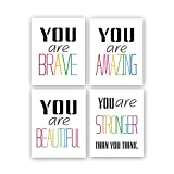 "Typography Watercolor Words Inspirational Quote&Saying Modern Art Print Set of 4 (8""X10"" Canvas Painting,Motivational Phrases Wall Art Poster for Nursery or Kids Room Home Decor,No Frame"