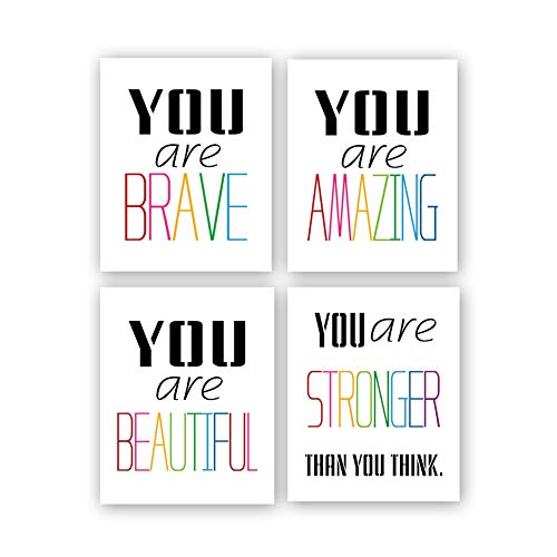 "Typography Watercolor Word Inspirational Quote&Saying Modern Art Print Set of 4 (8""X10"" Painting,Motivational Phrase Wall Art Poster for Nursery or Kids Room Home Decor,Not Include Frame"