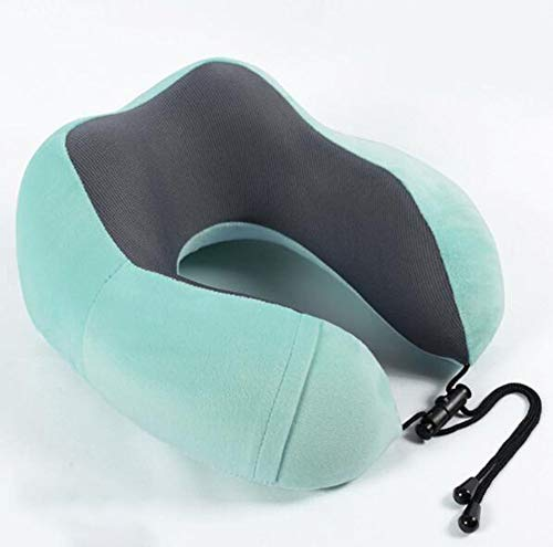 YOLL Travel Pillow, Airplane Neck Pillow Memory Foam with Storage Bag,Neck CushionCompact and Breathable for Sleeping on Airplane,Car or Office Use Reading Sleeping/Green