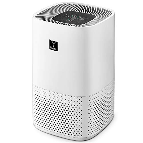 Yabano HEPA Air Purifier for Home, H13 True HEPA Filter 99.97%, Smoke Air Cleaner, 3 Fan Speed, Sleep Mode, Filter Replacement Indicator Light, White