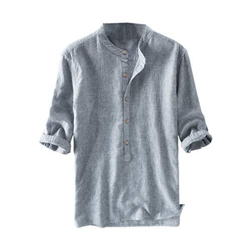 kunfang Uomo Colletto alla Coreana Camicia a Righe Regular Fit Lavoro Maglietta con Gemelli Primavera-Estate Maniche 3/4 Work Shirt con Colletto Serafino
