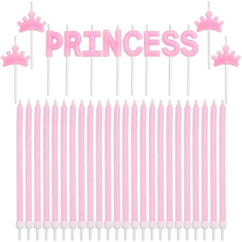 Princess Cake Candles Toppers with Tiaras and Holders (Pink, 37 Pack)