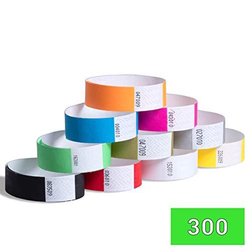 Eintrittsbänder 300er Pack NEON/Metallfarben - Festivalbänder, Eventbänder, Kontrollbänder, Securebänder, Partybänder, bedrucken (Neongrün, 300 Stück)