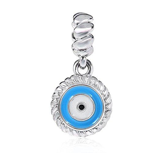 Ciondolo a forma di occhio malvagio, in argento sterling 925, con angelo, per Halloween, Natale, per braccialetti Pandora A