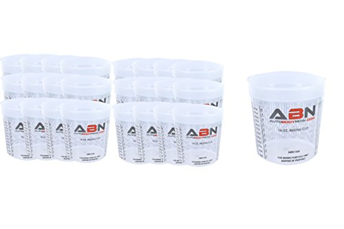 ABN Clear Plastic Mixing Cup 25-Pack 16oz Ounce / 473mL Milliliter Container with Ratios for Paint, Activators, Thinner