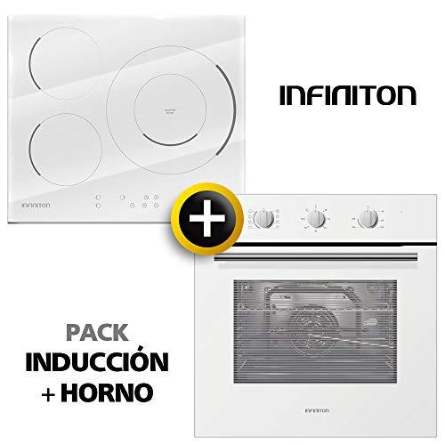 Pack Horno + INDUCCION INFINITON Blanca (Placa Encimera mas Horno multifuncion, Pack Ahorro) (INDUCCION + Horno (Kit Blanco))