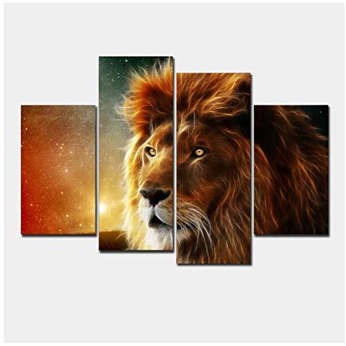 sjkkad Top Fashion Lion Kunst Canvas Muurbehang Kunst Lion King Afbeelding Landschap Moderne woonkamer Decor-40x80 40x100 cm Geen lijst