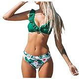 Yutdeng Costume da Bagno Donna Push Up Bikini Sexy Vita Alta V 2 Pezzi con Taglio Alto Triangolo Imbottito Costumi da Bagno 2020 Estate Nuovo Stile (Verde, M)