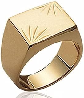 Sortija de sello para hombre Engravable Oro Genuino 18K plateó - EU Tamaños - Paris France Joyas - Bijouxagogo - 47695