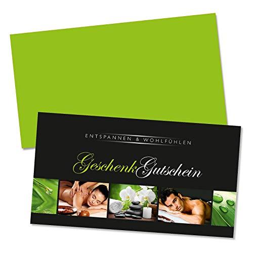 50 hochwertige Gutscheinkarten + 50 Kuverts. Gutscheine für Massage Wellness Spa Kosmetik. Vorderseite hochglänzend. MA1333
