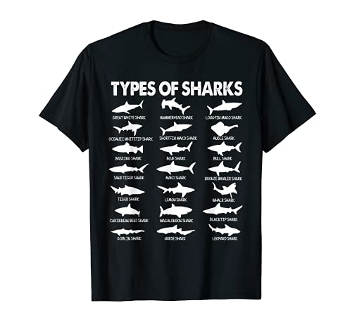 21 Types of Sharks - 21 tipos de tiburones marina marino Camiseta