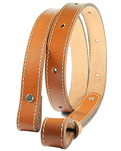 HERTE Leather Rifle Sling 1 inch Wide Shotgun Padded Strap Hunting Vintage Strong Harness tan (Sling Without Padding)
