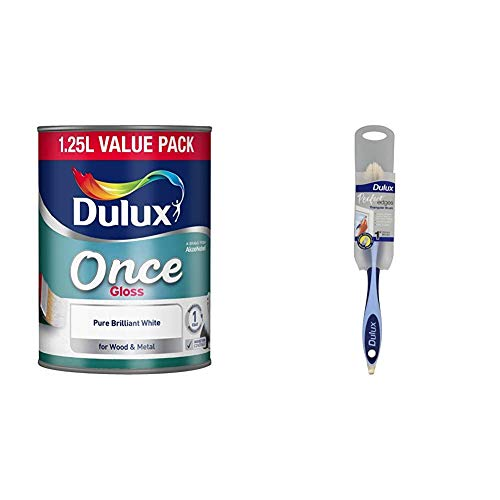 Dulux Once Gloss Paint For Wood And Metal - Pure Brilliant White 1.25L & Perfect Edges 1 inch Triangle Brush