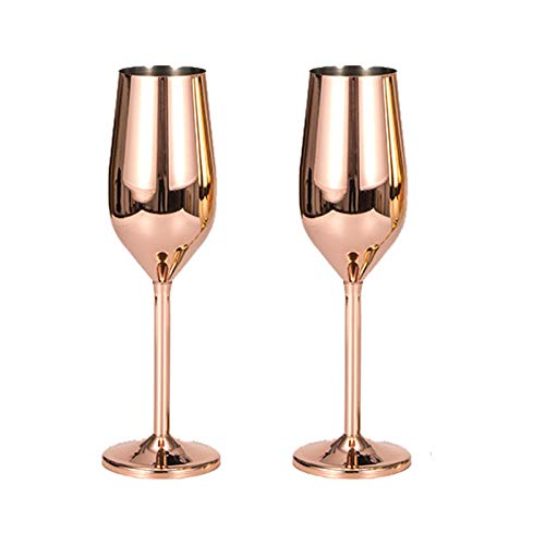BIJANSEN 220ml Edelstahl Champagner Tasse Weinglas Moscow Mule Copper Cups, Stainless Steel Cocktail Bar Set Bar Accessories,Moscow Mule Mug, Copper Cups Rose Gold, 220ml WeinglasX2