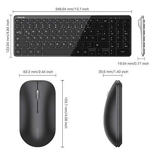OMOTON Tastatur Maus Set kabellos, Funktastatur Maus mit Ziffernblock, Wireless Tastatur mit USB-Empfänger für Büroarbeit, Deutsches QWERTZ-Layout für Windows PC/Computer/Laptop/Notebook, Schwarz