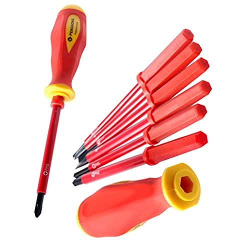 Destornillador eléctrico aislado Conjunto 1000V Phillips Destornillador de precisión electricista Repair Tool Kit de herramientas de uso 7PCS Mano