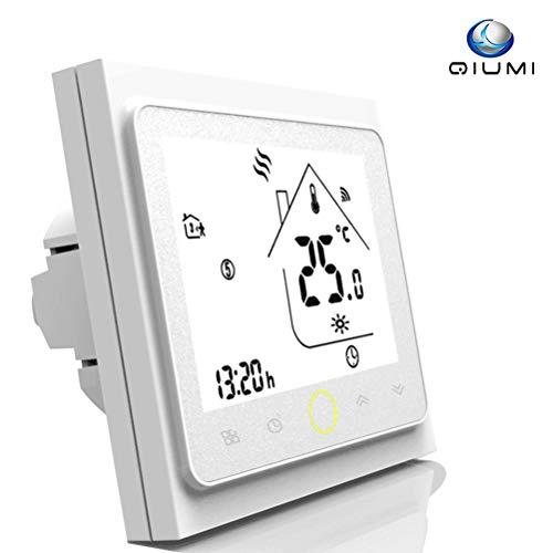 Qiumi Termostato Wifi para calefacción individual de calderas de gas/agua funciona con Amazon Alexa, Google Home IFTTT, Contacto seco, 5A 95~240V AC