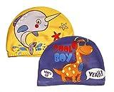 2er-Set Coole Badekappen für Jungen (Alter: 2-5 Jahre) - Dino und Wal - 100% Nylon und 0% Ziepen - Kinder Schwimmkappe Haube