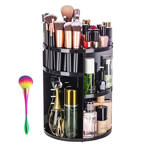 360 Degree Rotating Makeup Cosmetic Organizer with 1 FREE Makeup Brush as Valentine's Day Gift,Adjustable Bathroom Makeup Carousel Spinning Holder Storage Stand,Organizador de maquillaje(Black Flat)